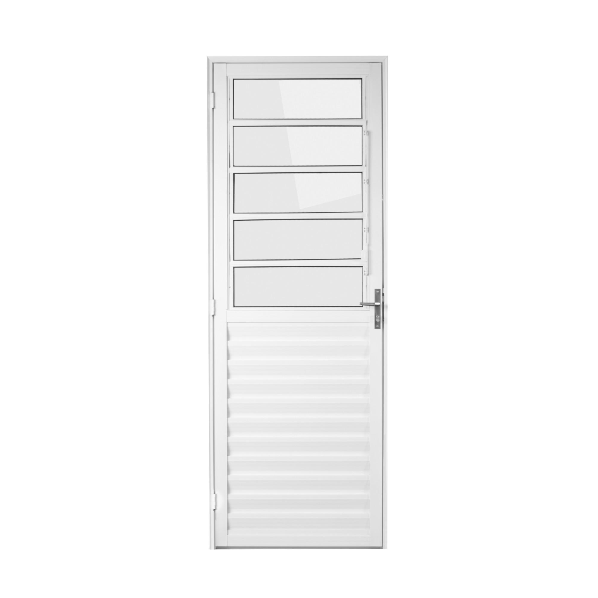 Porta de Aluminio Basculante Branca 210x80 cm Lado Direito Vidro Liso - Aluvid