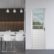 Porta de Alumínio Basculante Branca 210x80 cm Lado Direito Vidro Liso - Aluvid