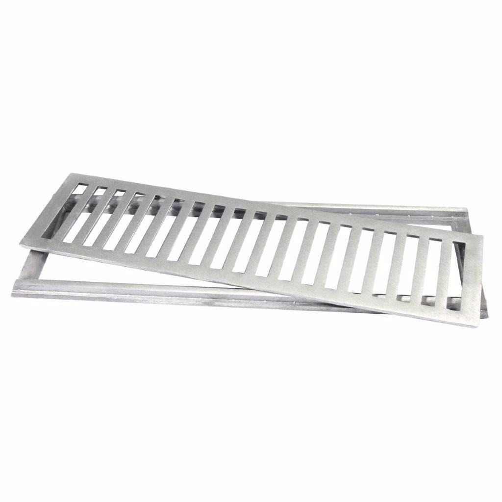 Grelha de Aluminio para Piso Escovada Retangular 10x100cm - LGMaisPacote de 6 un