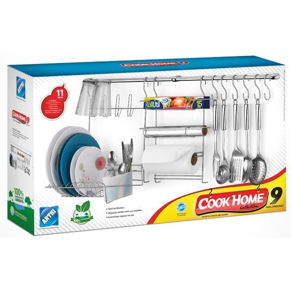 Suporte para Utensilios de Cozinha 11 Pecas Aco cromado - Arthi