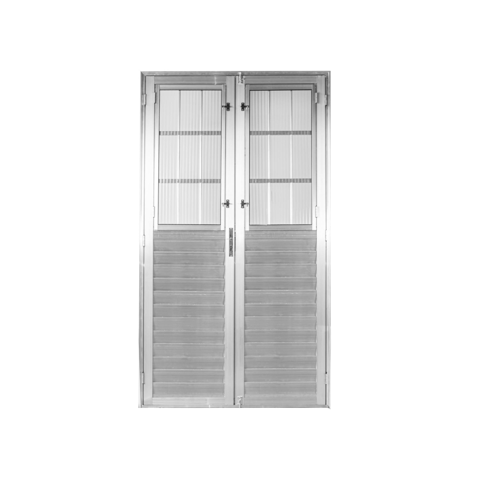 Porta de Abrir de Aluminio 2 Folhas 210 x 120cm Postigo Lado Direito - Aluvid