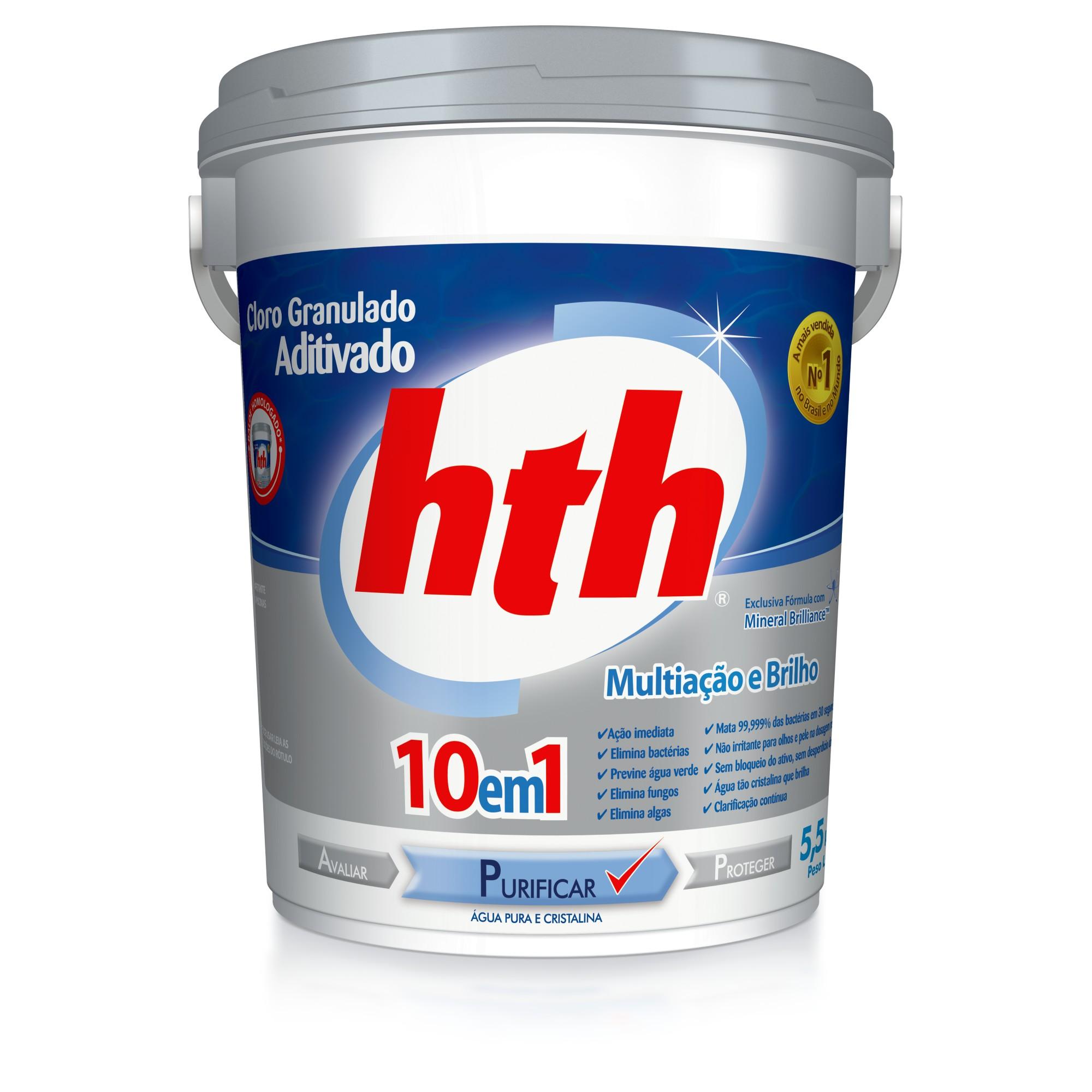 Cloro Granulado Aditivado para Piscina 55kg Multiacao e Brilho 10 em 1 Agua Pura e Cristalina com Mineral Brilliance - Hth