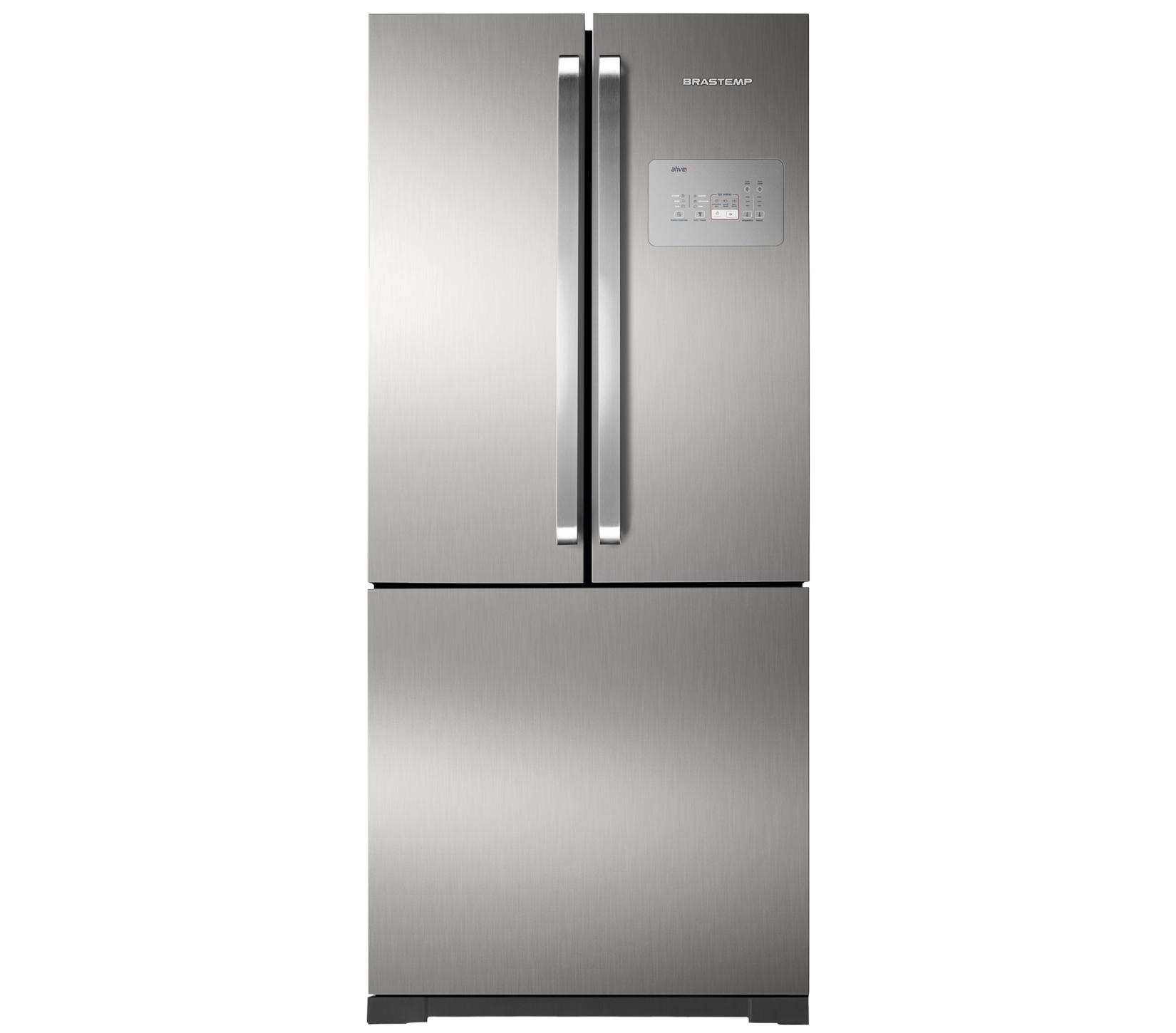 GeladeiraRefrigerador Brastemp Frost Free Side Inverse 540L Prata 220V - BRO80AKBNA