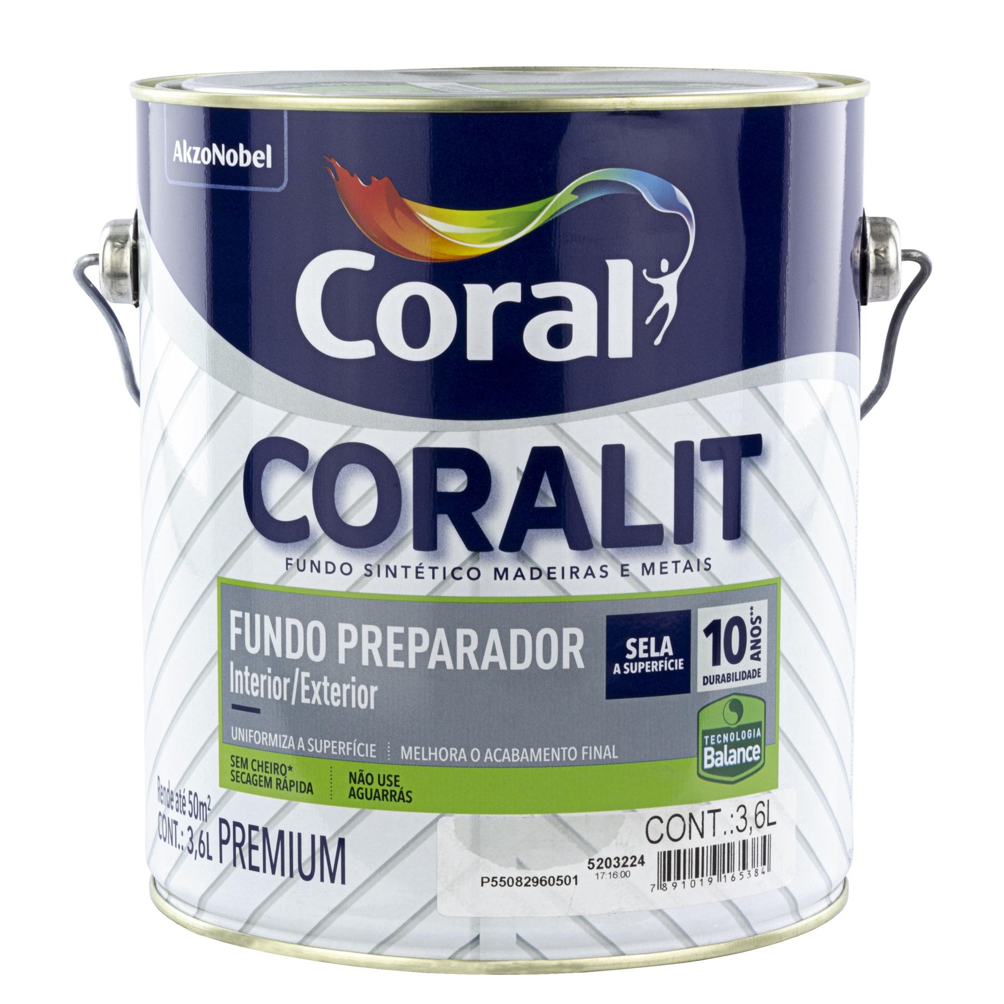 Fundo Preparador Base Agua 36L Coralit Zero - Coral