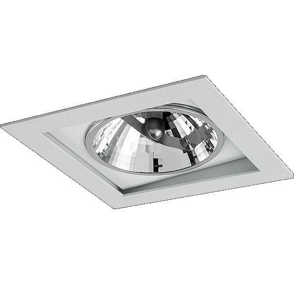 Spot Embutir Aluminio Direcional Quadrado AR111 Branco 7006 - Goli
