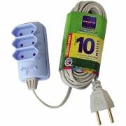 Extensão Elétrica 3 tomadas 10m 2 Pólos 10A Cinza - Sort - Daneva