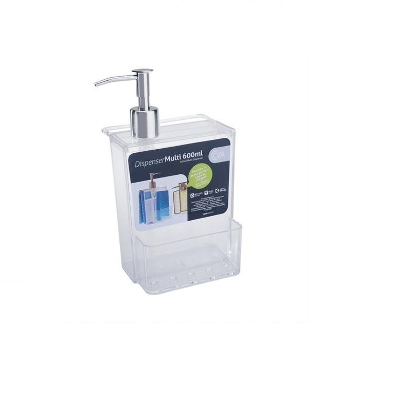 Dispenser com Suporte para Esponja Plastico 600ml Incolor 207190009 - Coza