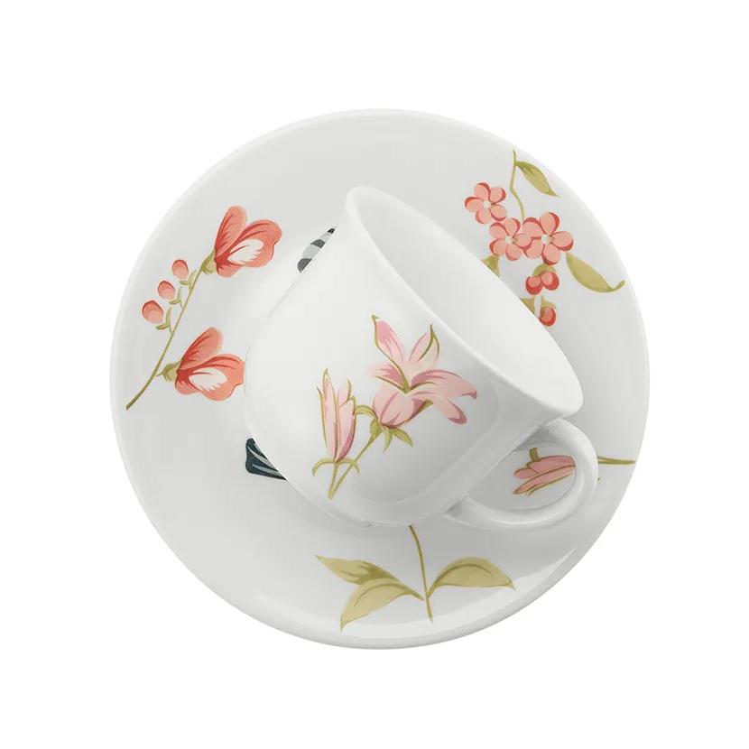 Xicara de Cha May de Ceramica 200ml com Pires Rosa Claro - Biona