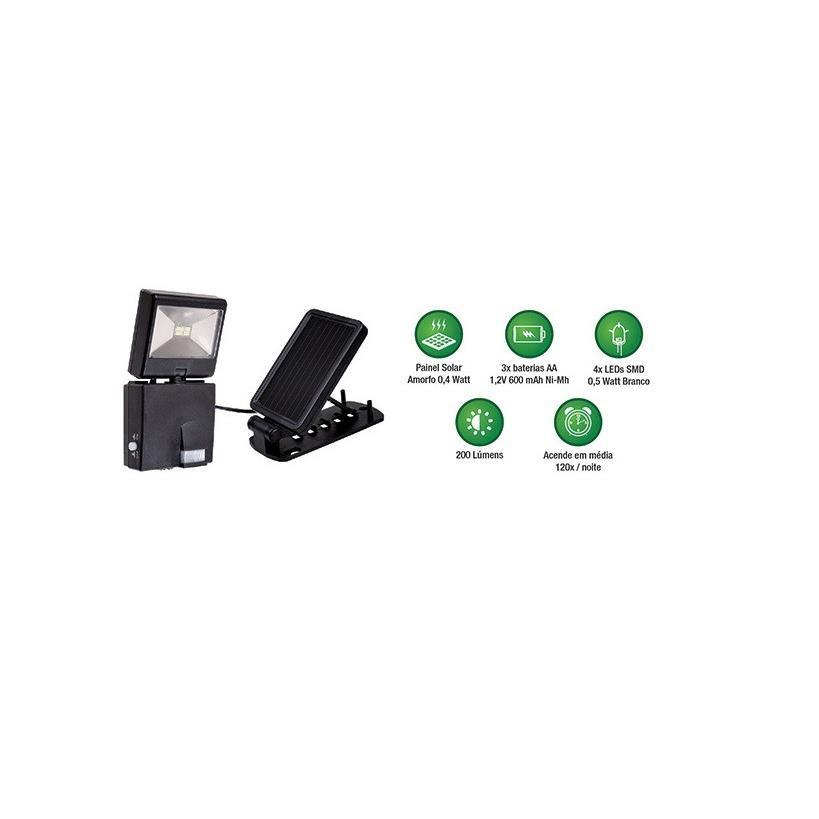 Refletor LED Retangular Preto com Sensor 2W Bivolt - Ecoforce