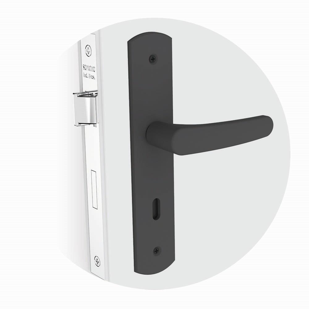 Fechadura Interna 40 mm Espelho Baquelite Preto Fosco Ipanema - Soprano