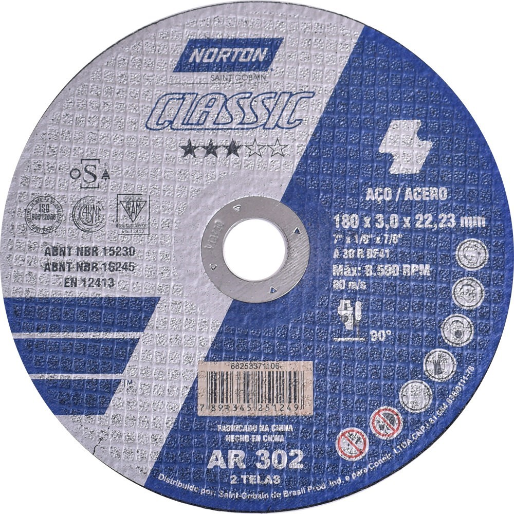 Disco de Corte 300 x 32 x 2540mm Classic AR302 - Norton