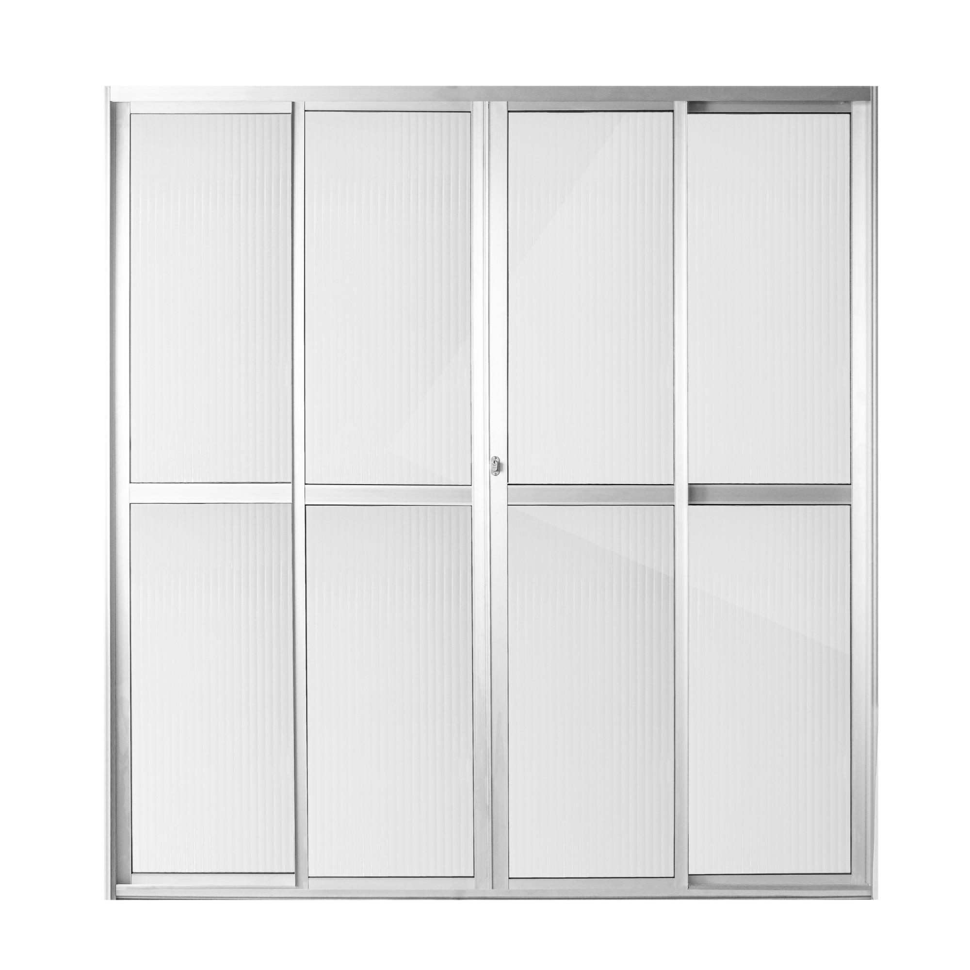 Porta Balcao de Aluminio 4 Folhas 210cm x 200cm Natural - Aluvid