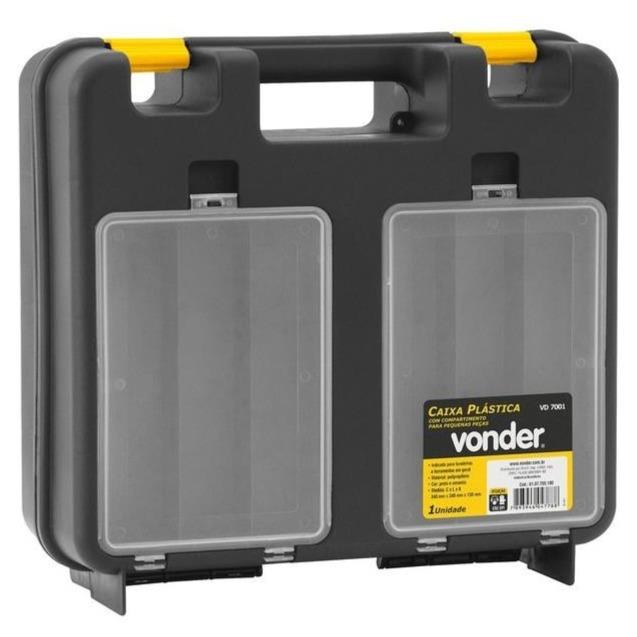 Caixa para Furadeira Plastico com Divisoria Preta Vd7001 - Vonder