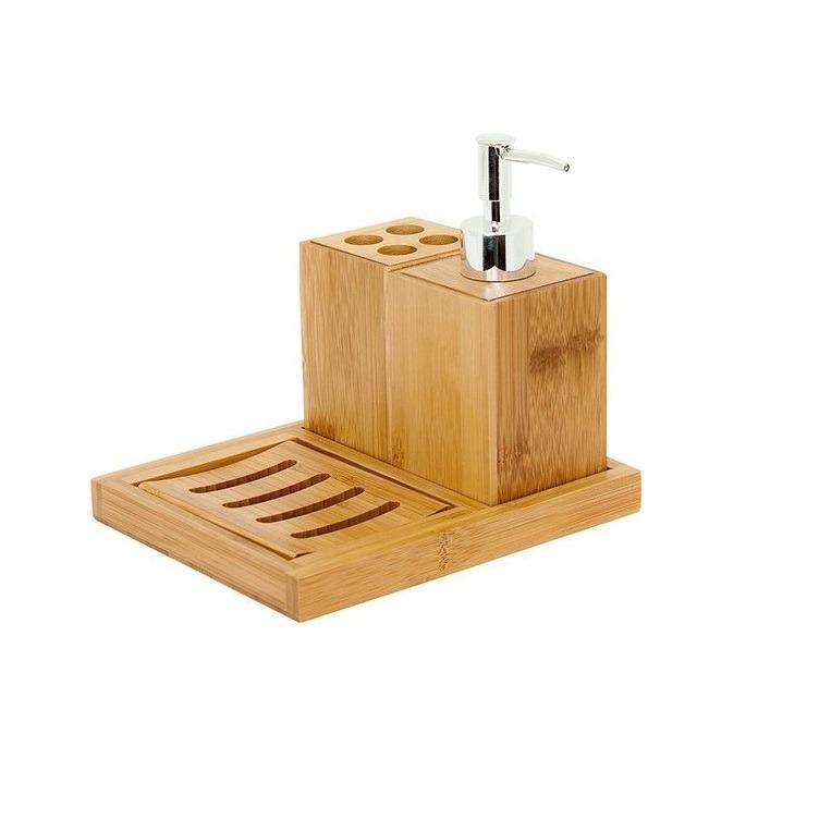 Jogo para Banheiro de Bambu 4 Pecas Marrom Claro - Mimo Style - 5484