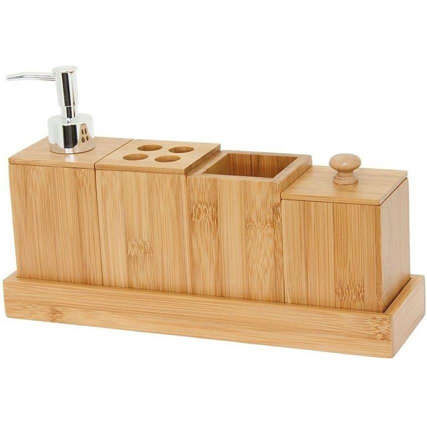 Jogo para Banheiro de Bambu 5 Pecas Marrom Claro 5486 - Mimo Style