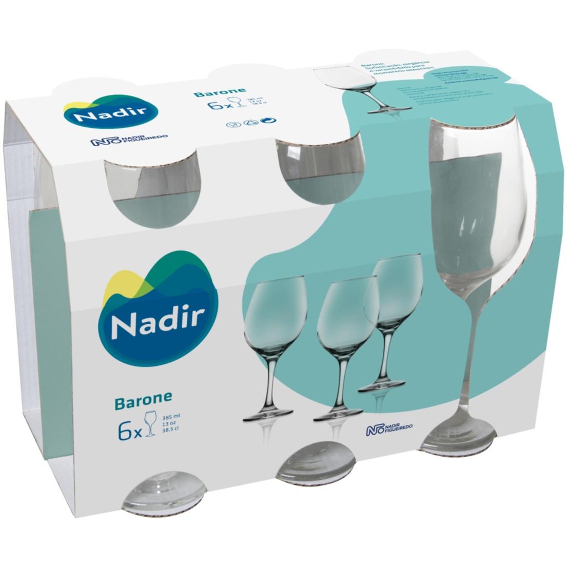 Jogo de Tacas para Vinho de Vidro 6 Pecas 385ml Transparente Barone - Nadir