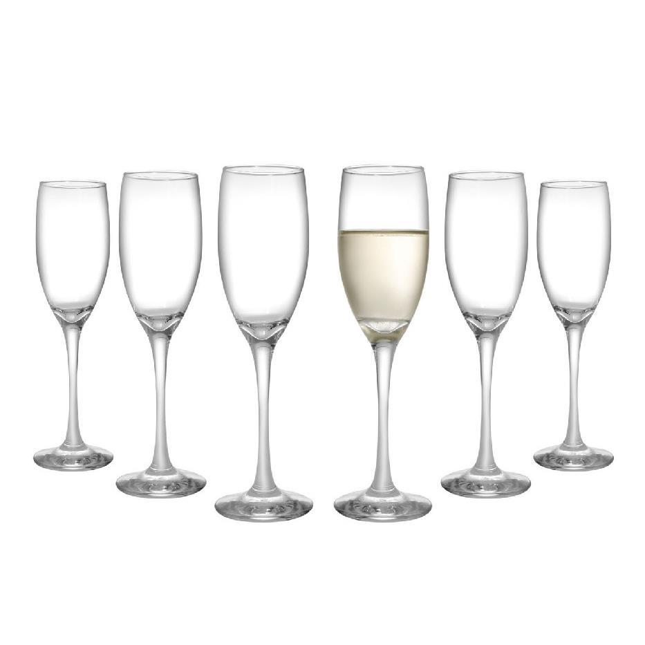 Jogo de Tacas para Champanhe de Vidro 6 pecas 180ml Transparente - Barone Nadir