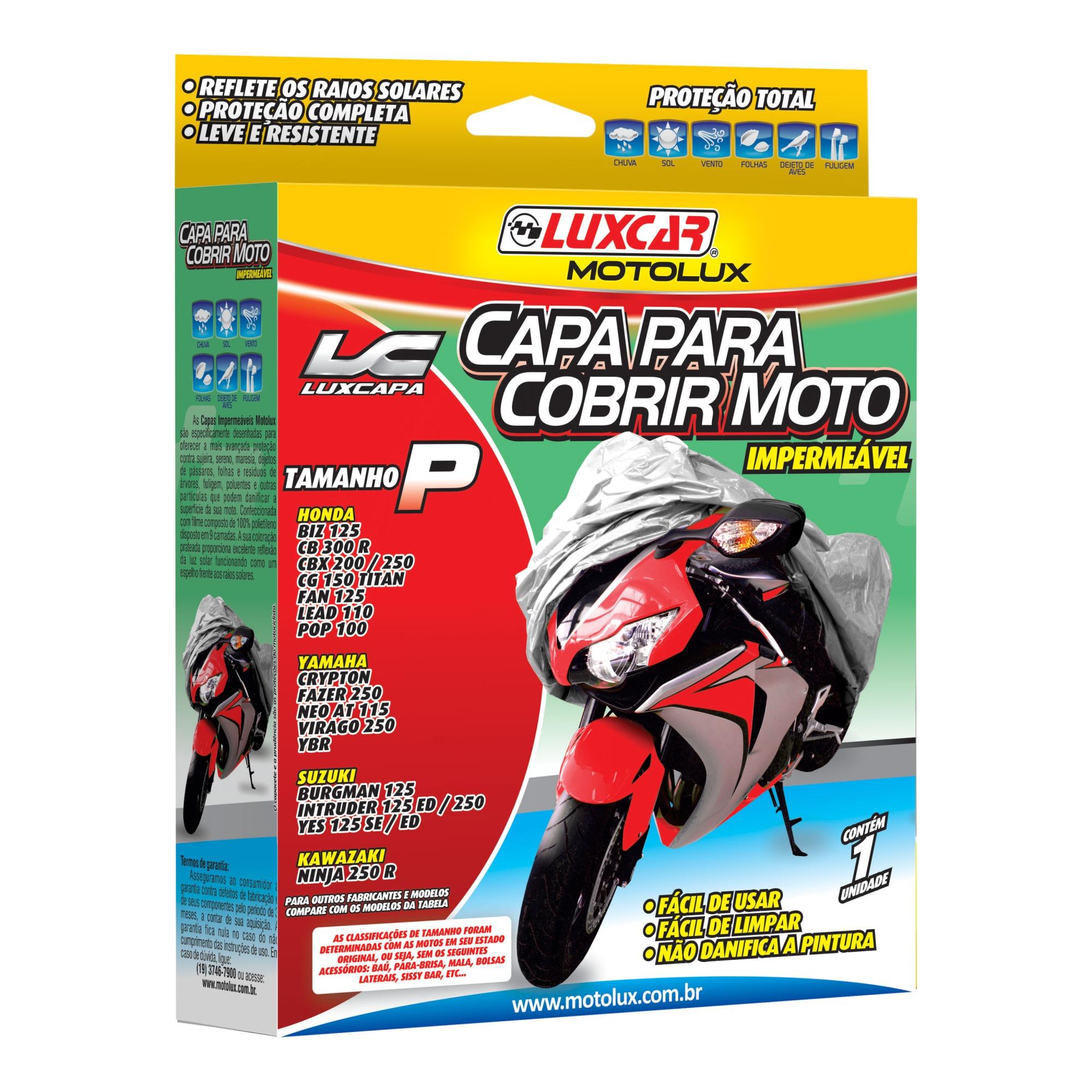 Capa Protetora para Moto Tamanho P 120 x 163m - Luxcar