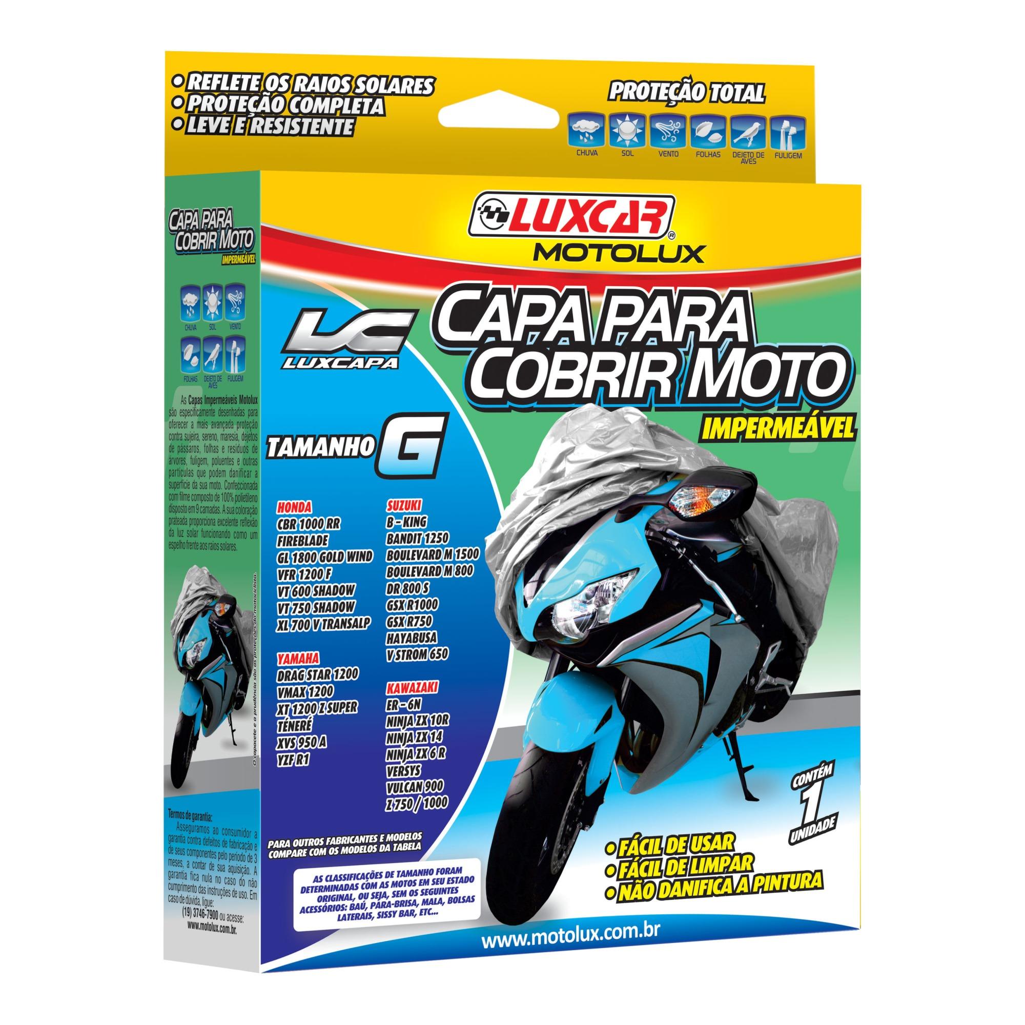 Capa Protetora para Moto Tamanho G 120 x 170m - Luxcar