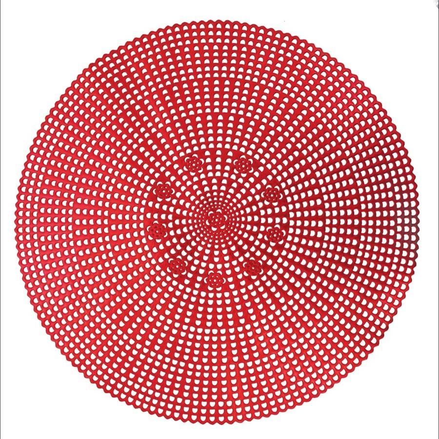 Pano Americano Redondo 41 cm 1 Peca PVC Vermelho - Yangzi
