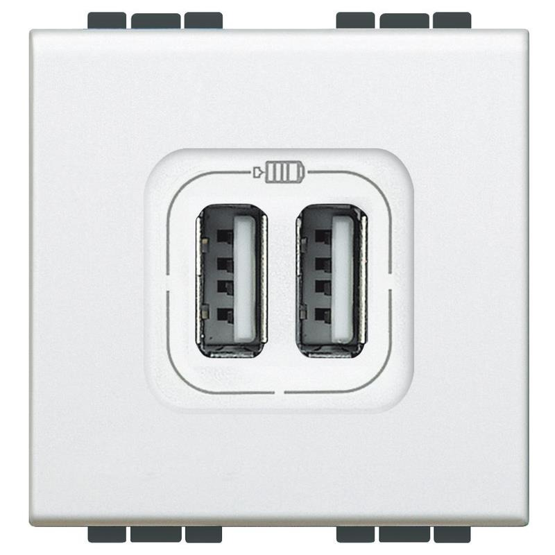 Tomada Carregador USB 2 Modulos 1500mA Branca - Bticino