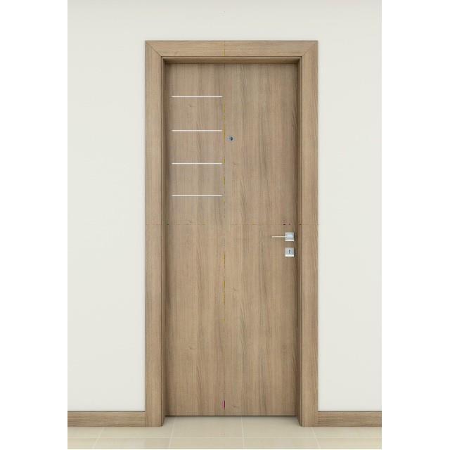 Porta de Madeira Friso de Aluminio 70x210 cm Curto Carvalho Pescara - Famossul
