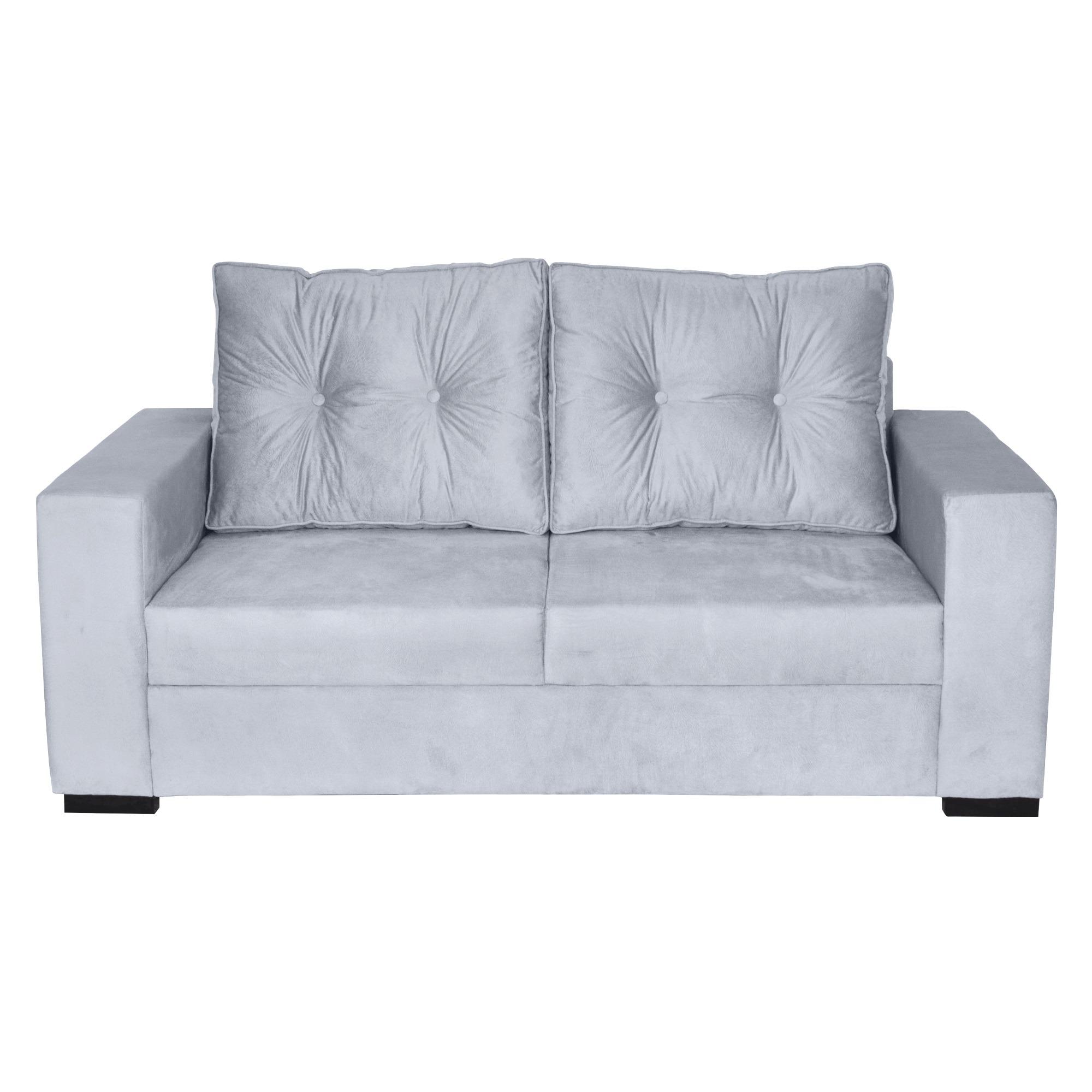 Sofa 3 Lugares Londres Royal Savage Suede Cinza Claro 189 cm