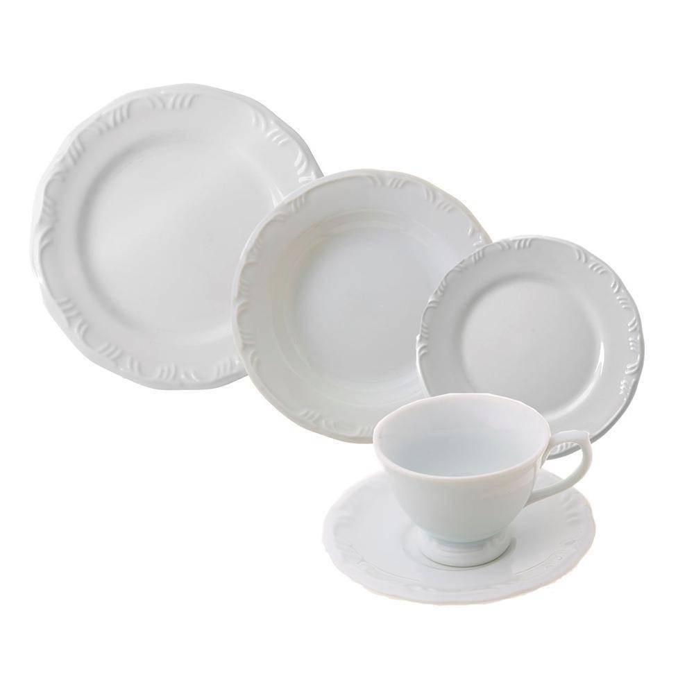 Aparelho de Jantar de Porcelana 20 Pecas Branco - Schmidt