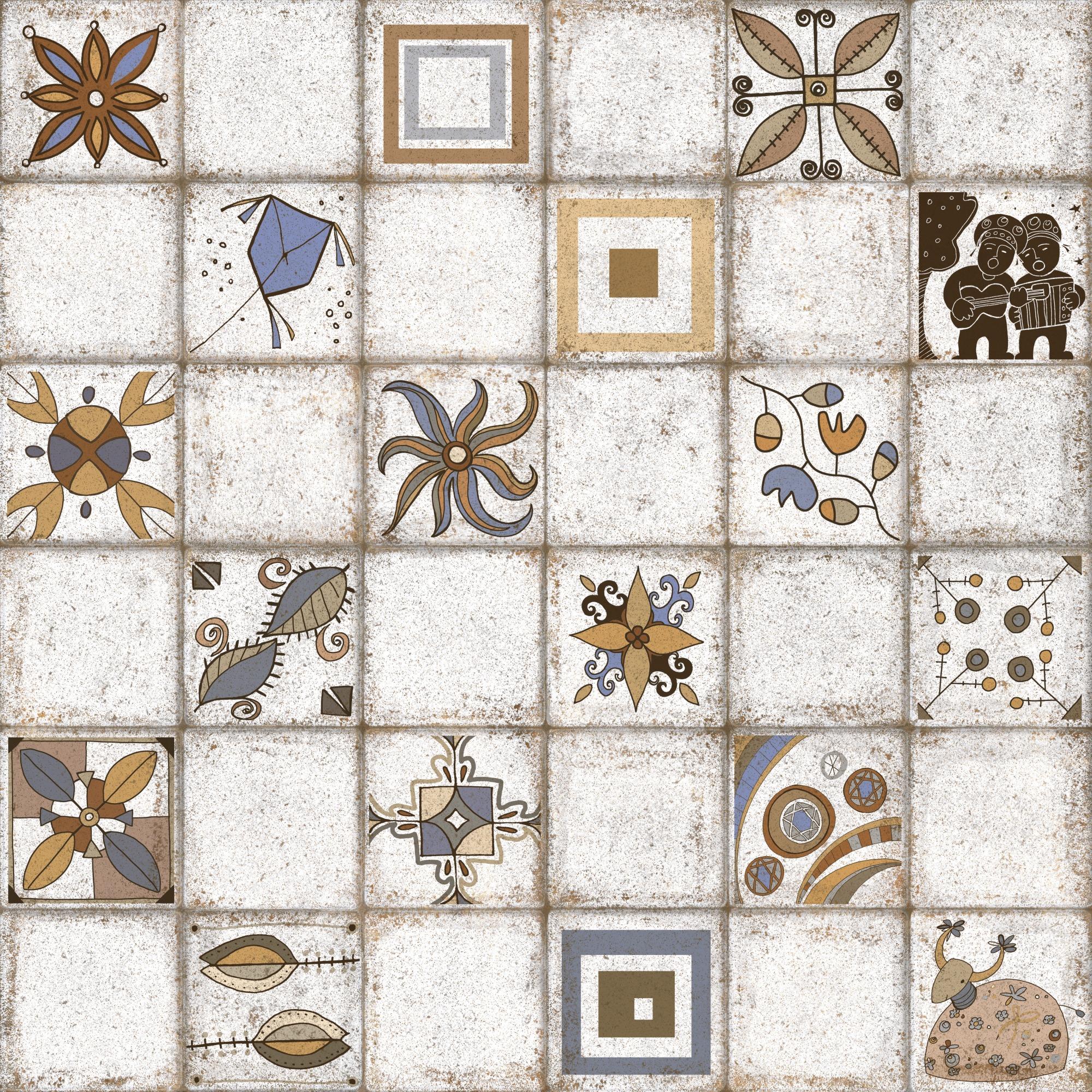 Ceramica Artesanal Mescla Acetinado HD Tipo A Borda Bold 60x60cm 220m Cinza Claro - Pointer