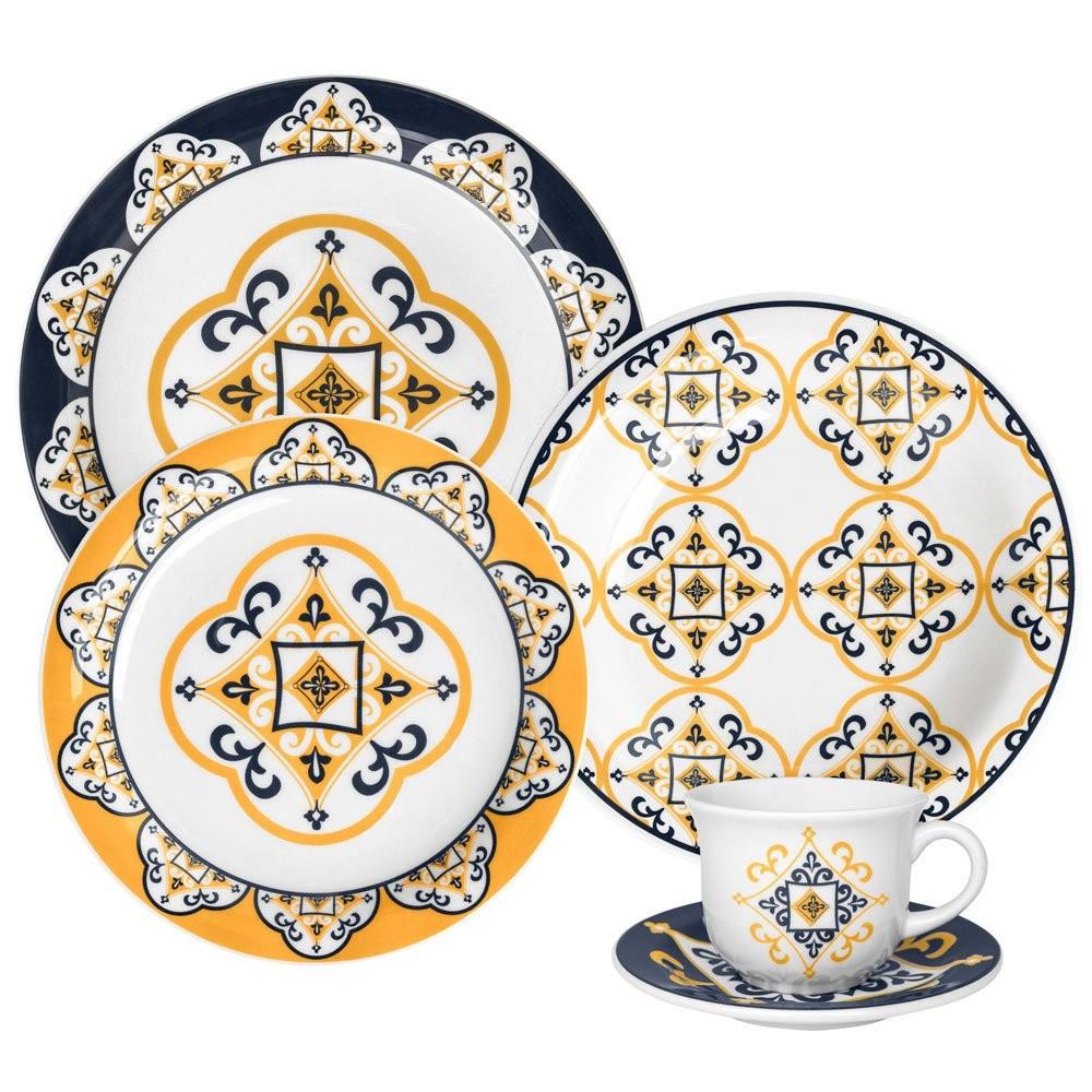 Aparelho de Jantar de Ceramica 20 Pecas Floreal Sao Luis Azul Escuro - Oxford