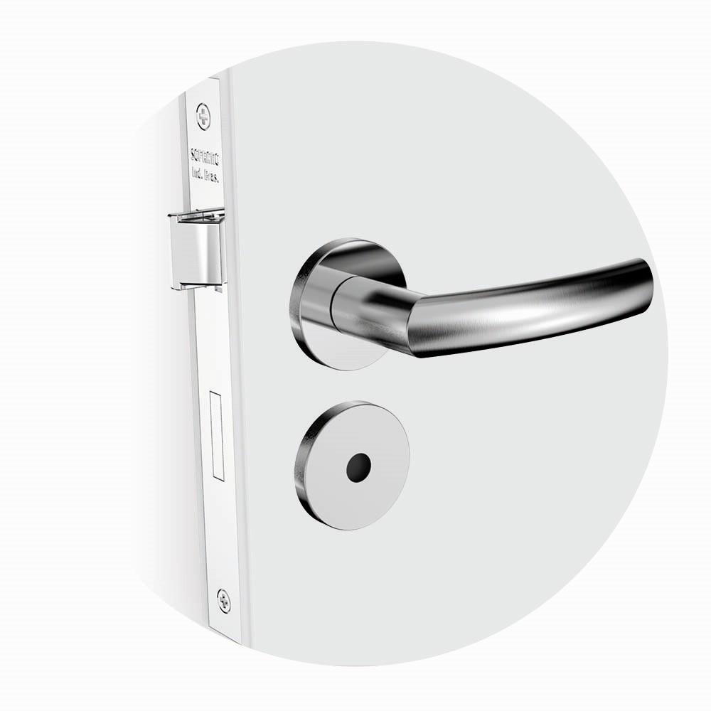 Fechadura WC Roseta e Macaneta Cromo Acetinado 3003080390 Jurere - Soprano