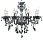 Lustre Vidro e Metal Fumê 8 Lâmpadas JF028S - Bella Iluminação