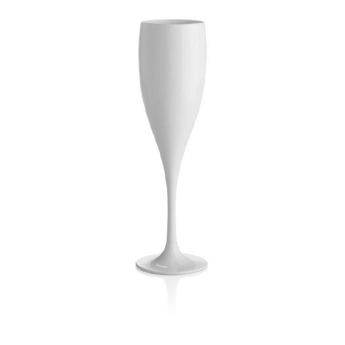 Taca de Champanhe de Plastico Lux 150ml Branca - Ou