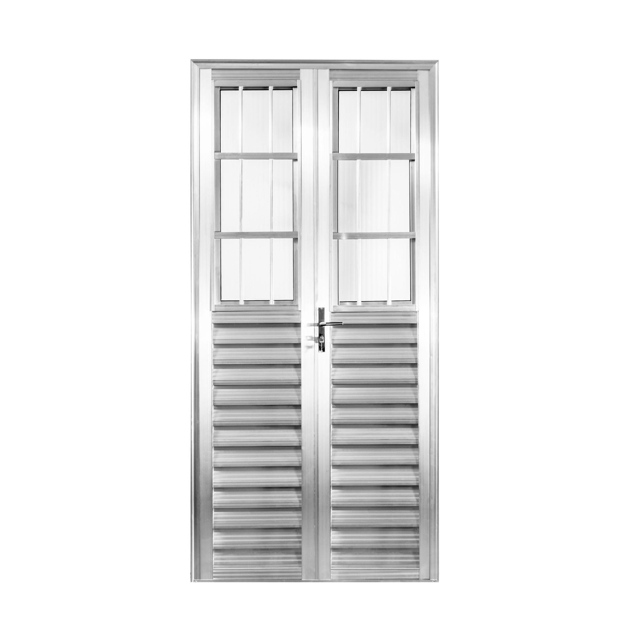 Porta de Abrir de Aluminio 2 Folhas 210cm x 100cm Postigo Lado Direito - Aluvid