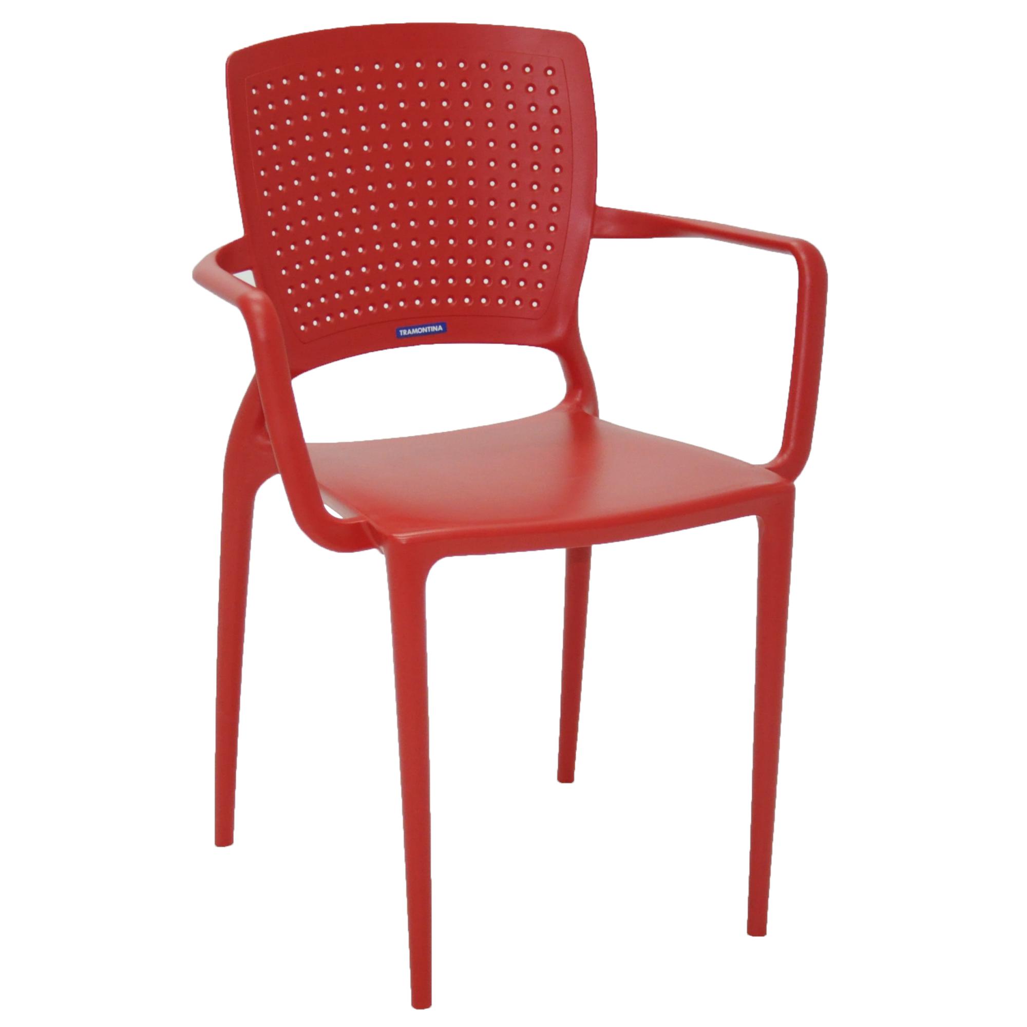 Cadeira com Apoio de Braco Safira de Plastico Vermelho - Tramontina