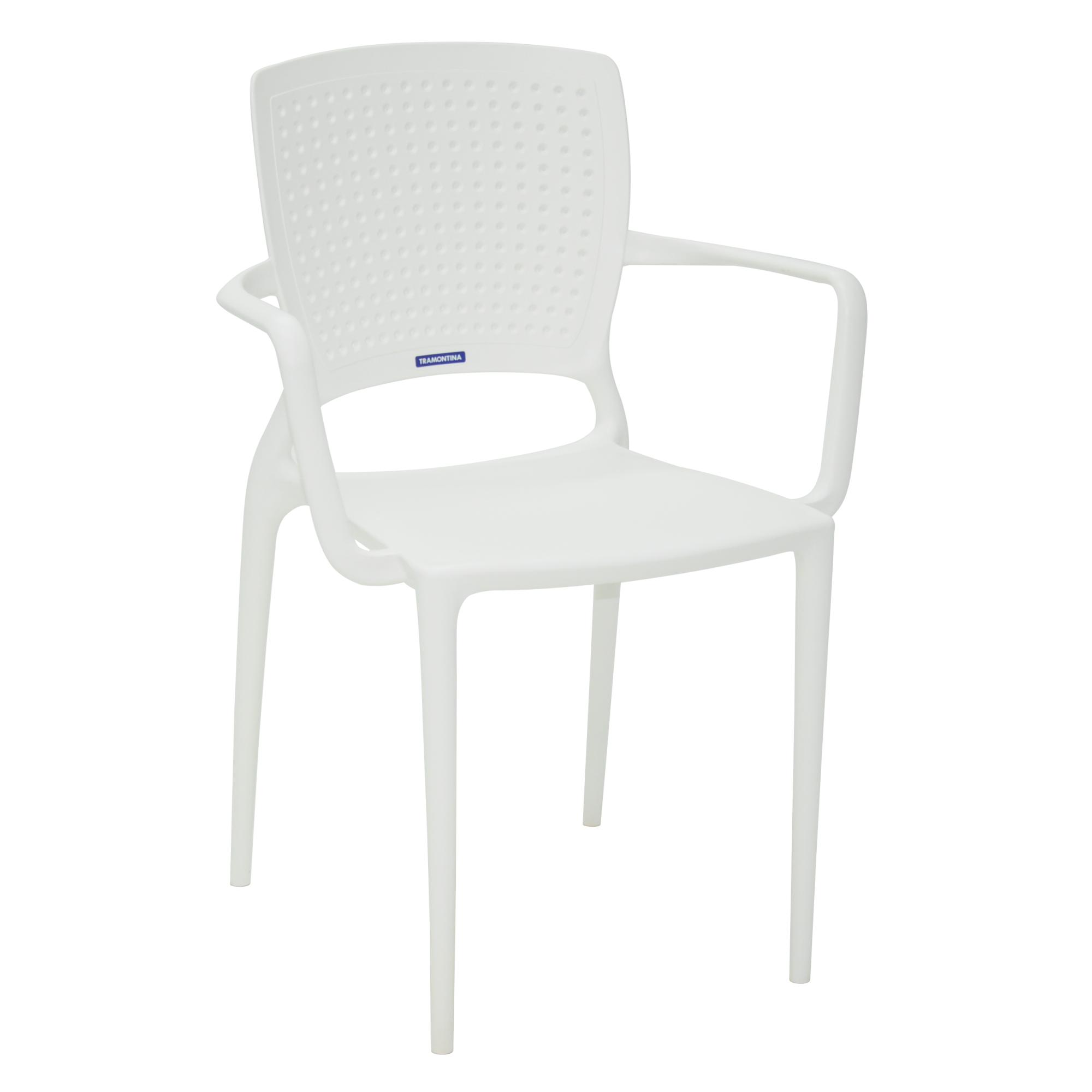 Cadeira com Apoio de Braco Safira de Plastico Branco - Tramontina