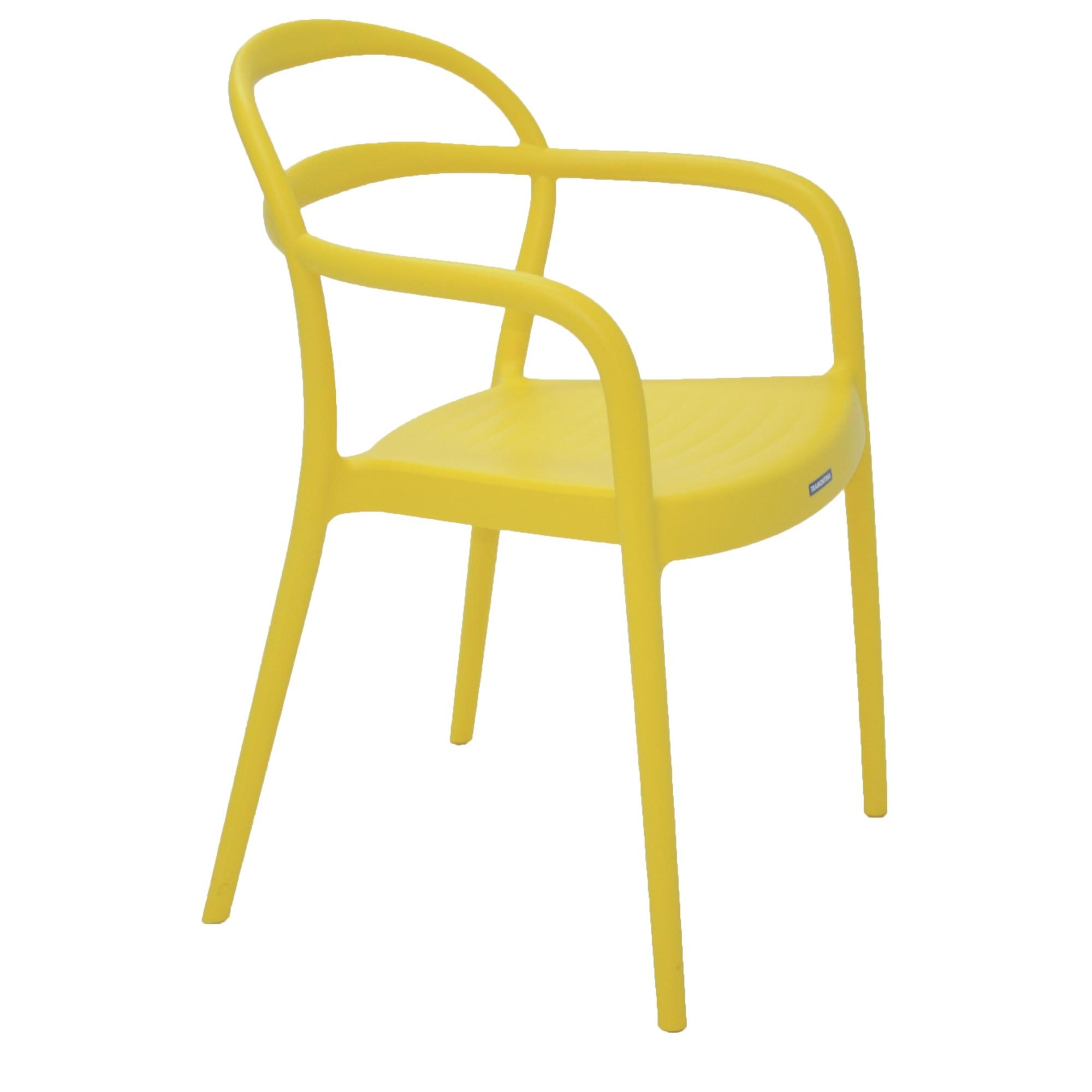 Cadeira com Apoio de Braco Sissi de Plastico Amarelo - Tramontina