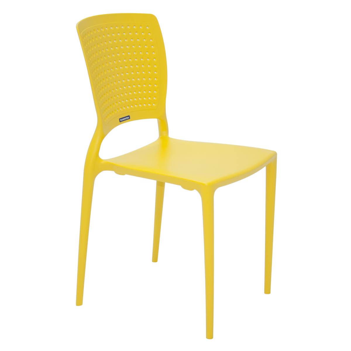 Cadeira Safira de Polipropileno e Fibra de Vidro Amarelo - Tramontina