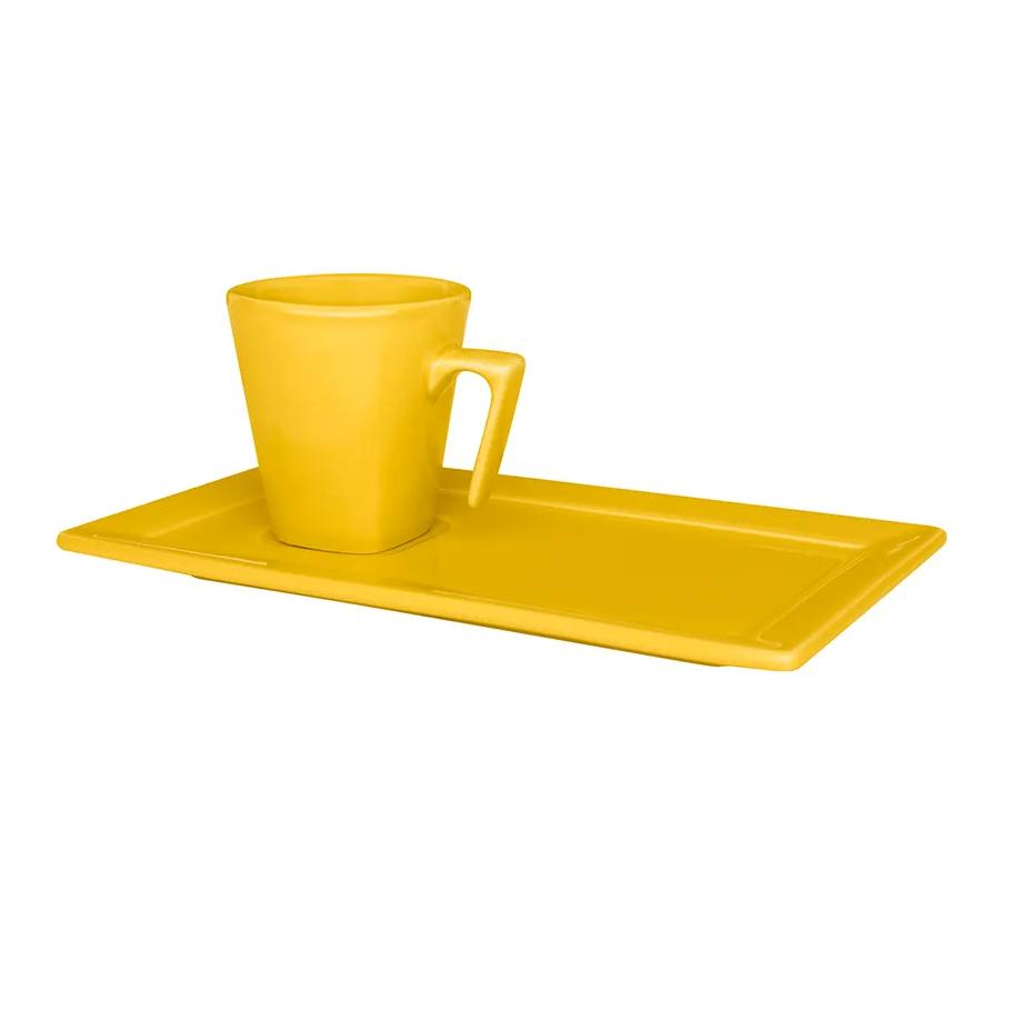 Xicara de Cafe de Porcelana 65ml com Pires Amarelo - Oxford