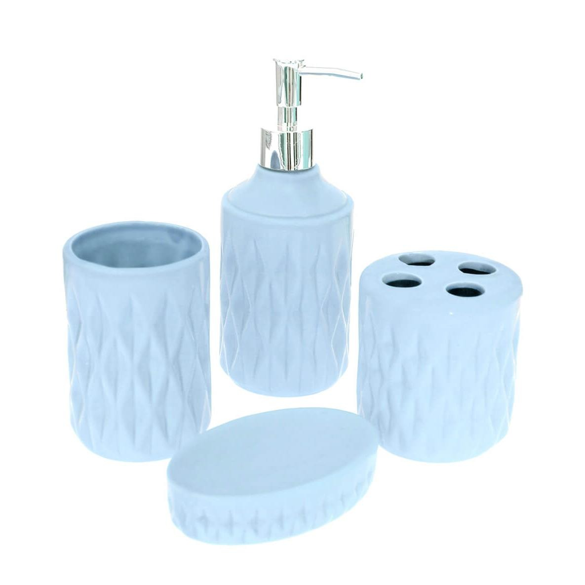 Jogo para Banheiro de Ceramica 4 Pecas Azul 34600001 - GPresentes