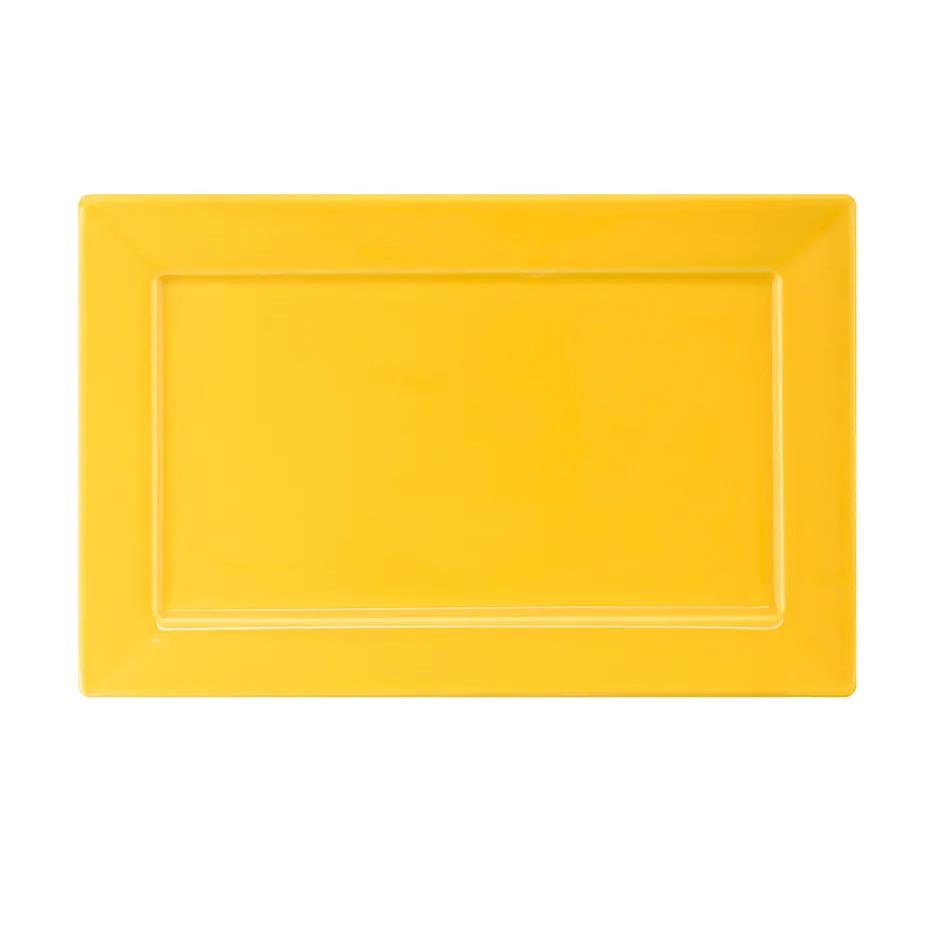 Prato de Sobremesa Retangular em Porcelana Plateau Amarelo 24cm - Oxford