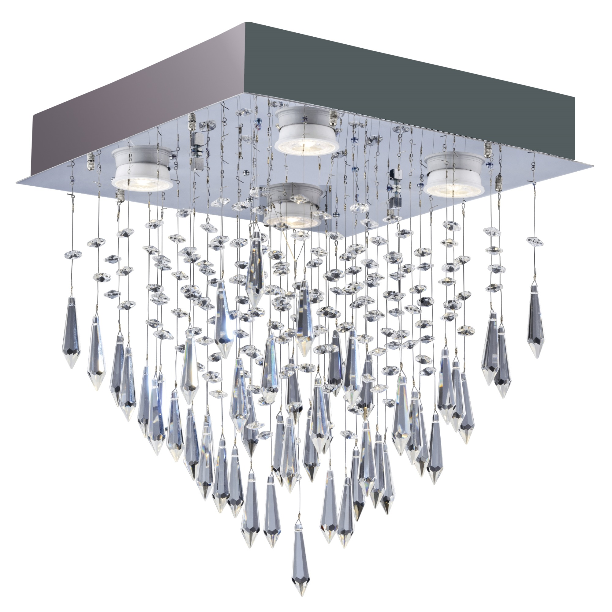 Plafon de Sobrepor Quadrado 4 Lampadas Thunder 25cm Prata - Llum