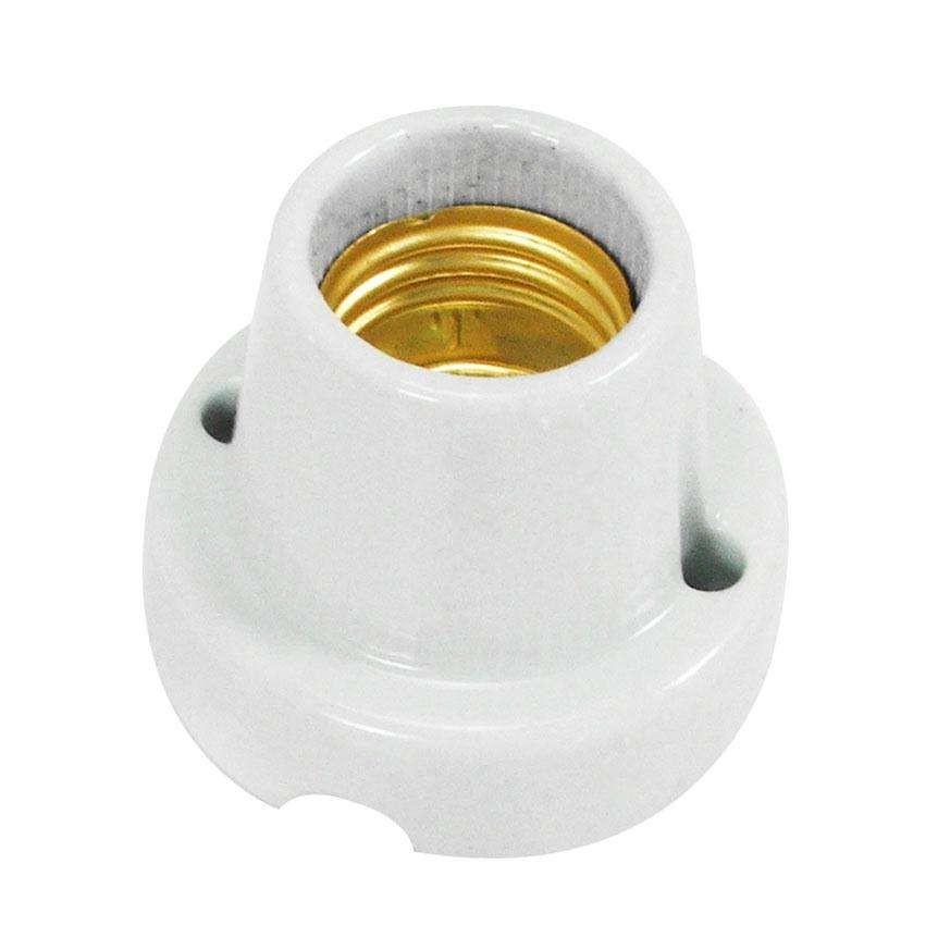 Porta Lampada de Porcelana com Base E14 Branco - Ecoline