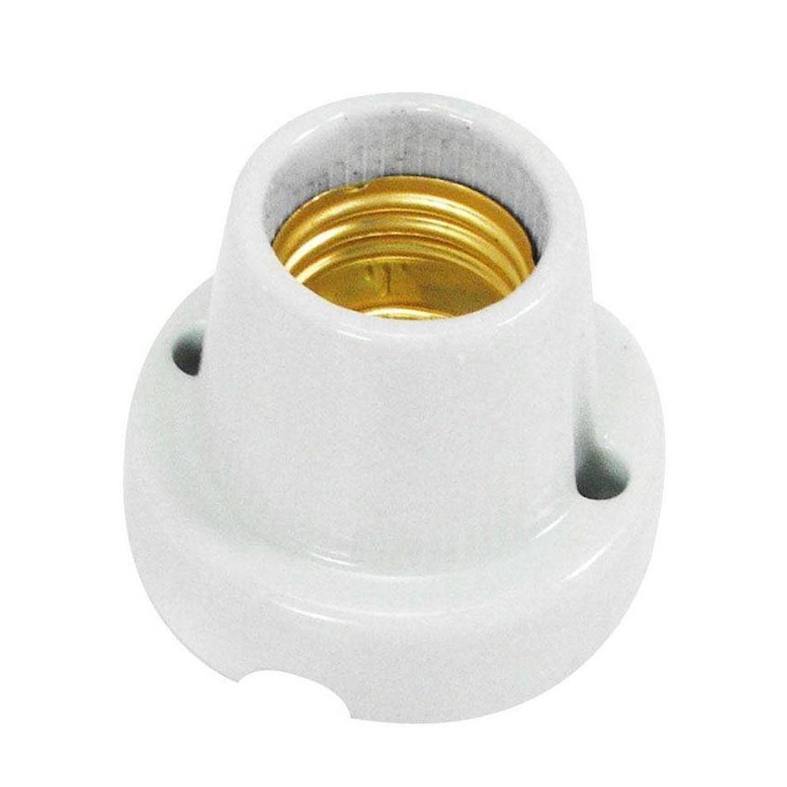 Porta Lampada de Porcelana com Base E27 Branco - Ecoline