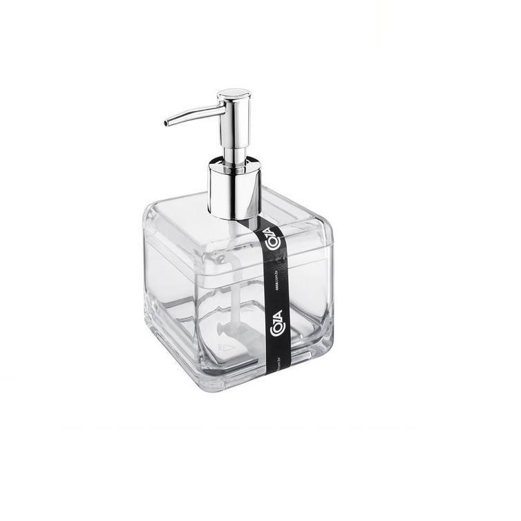 Porta Sabonete Liquido Acrilica Quadrado Cromado 20878 - Coza
