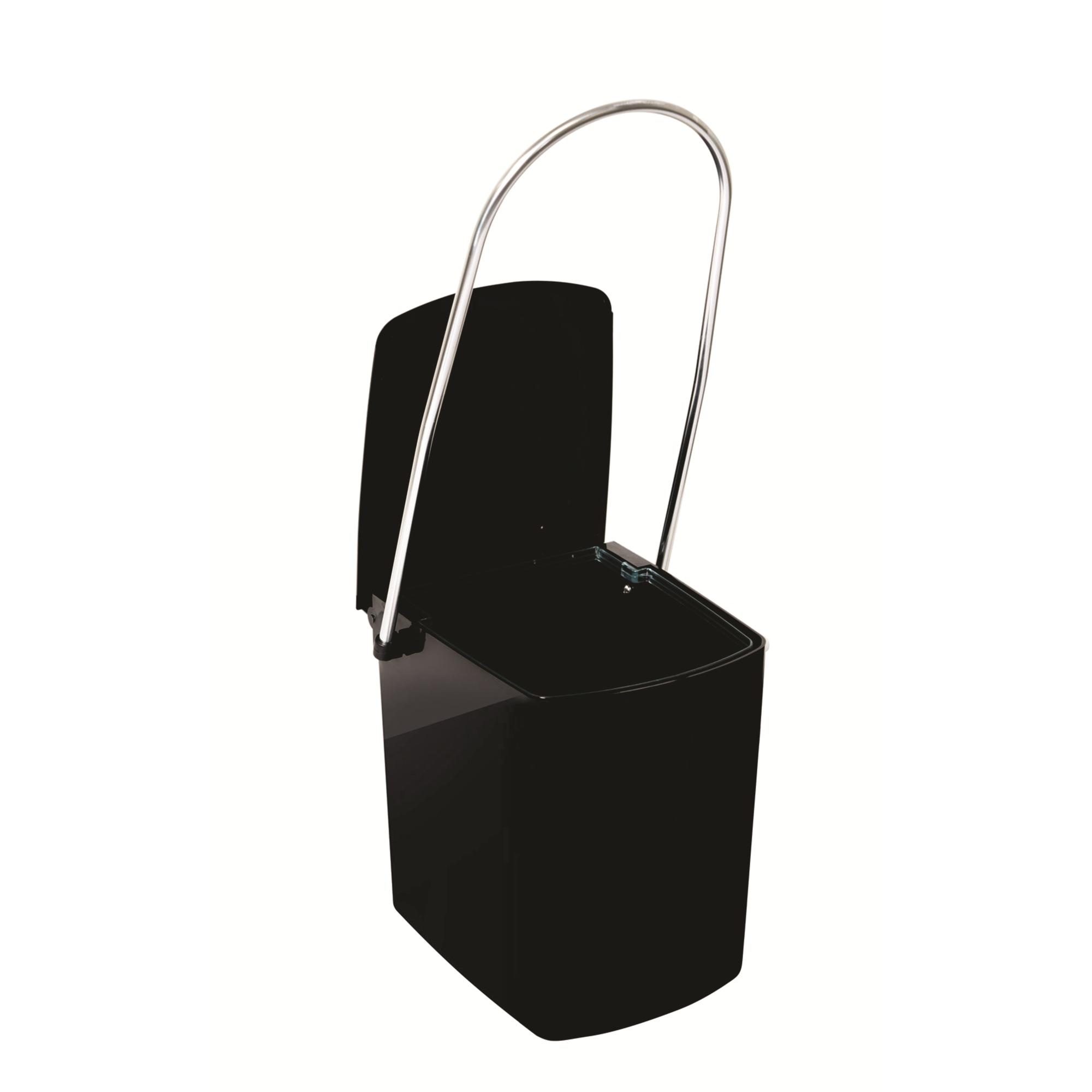 Lixeira de Plastico com Tampa e Alca Longa Preta 150L 990 - Cris Metal