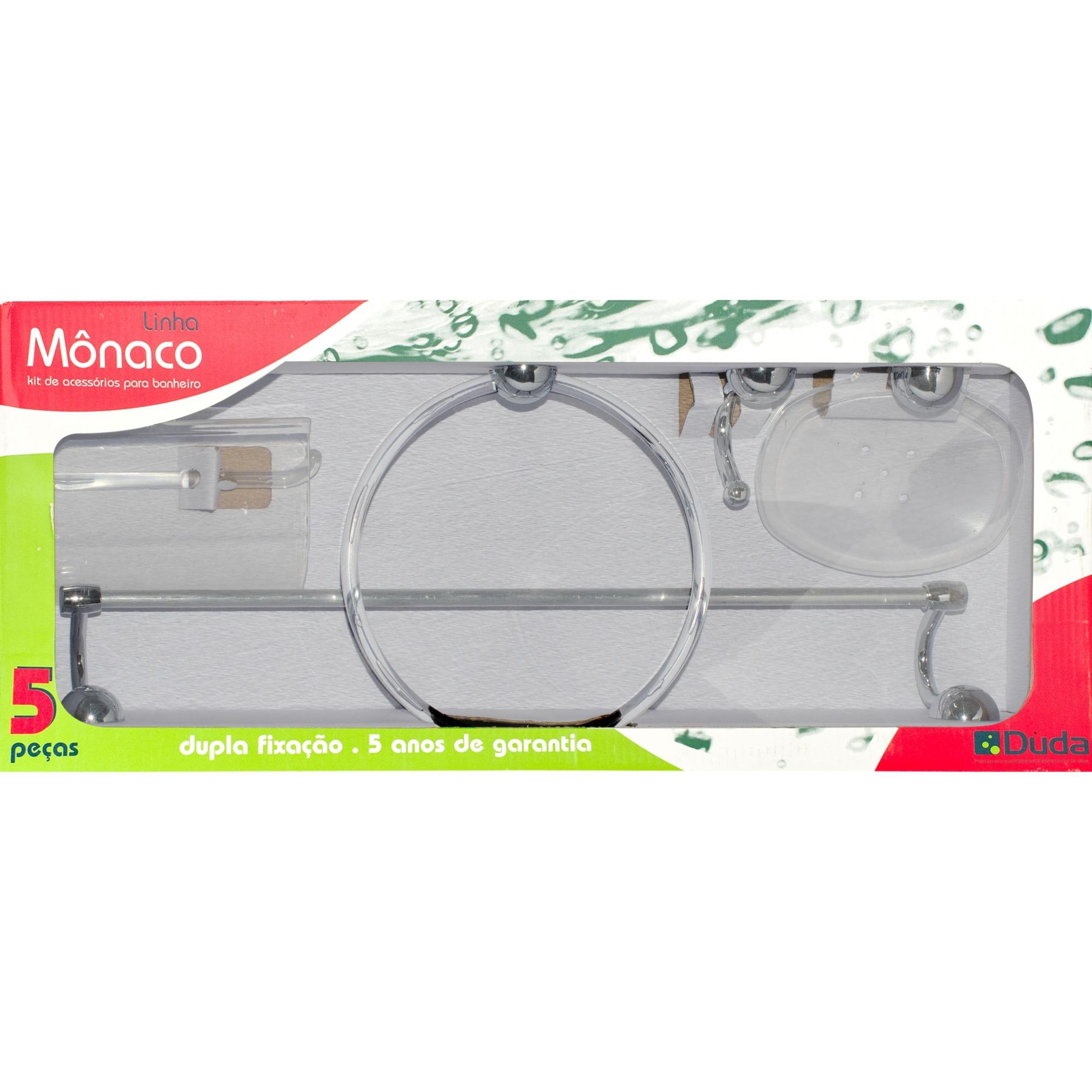 Kit De Acessorios para Banheiro de Parede Plastico Abs 5 Pecas Incolor - Cristal Duda