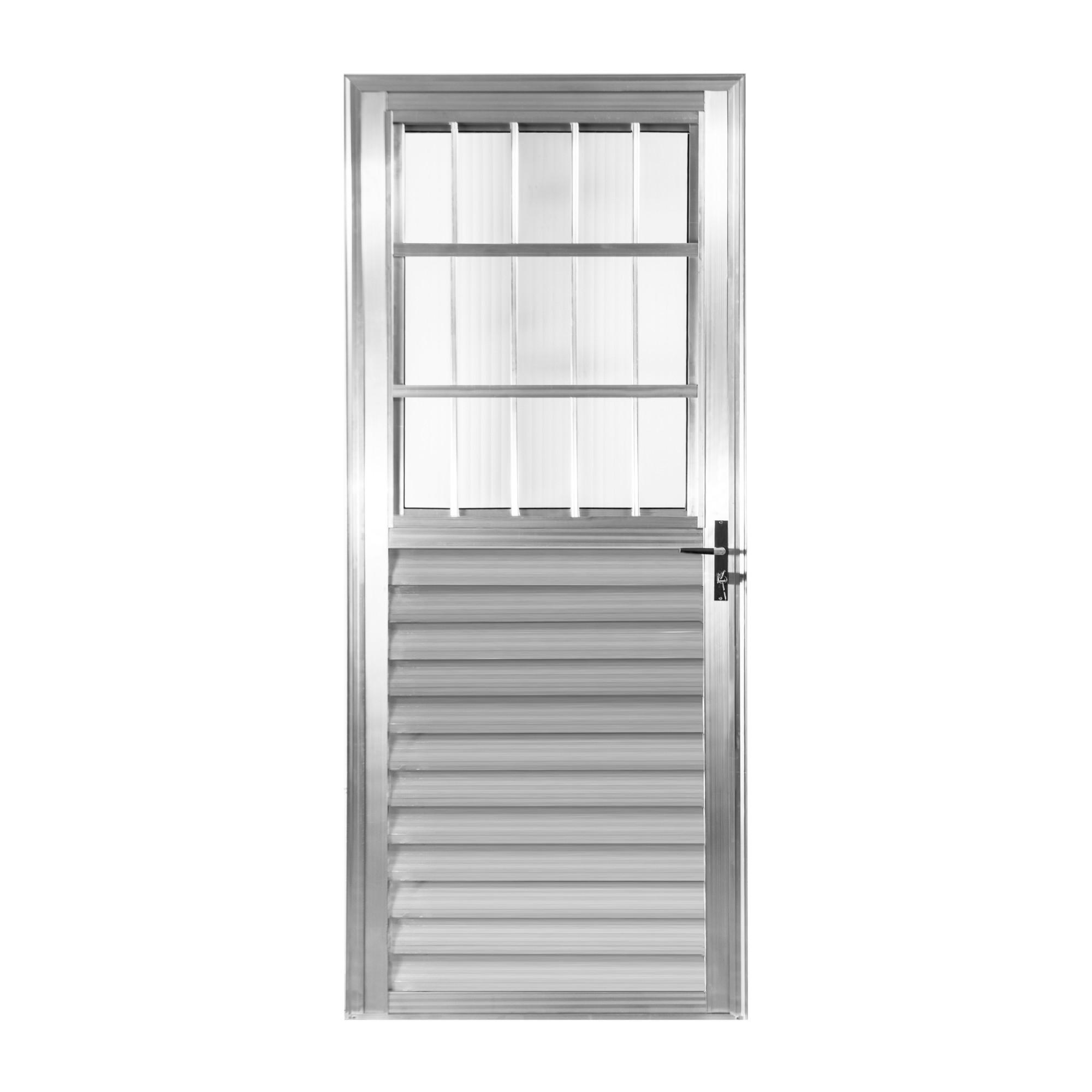 Porta de Abrir de Aluminio 210cm x 90cm Postigo Lado Esquerdo - Aluvid