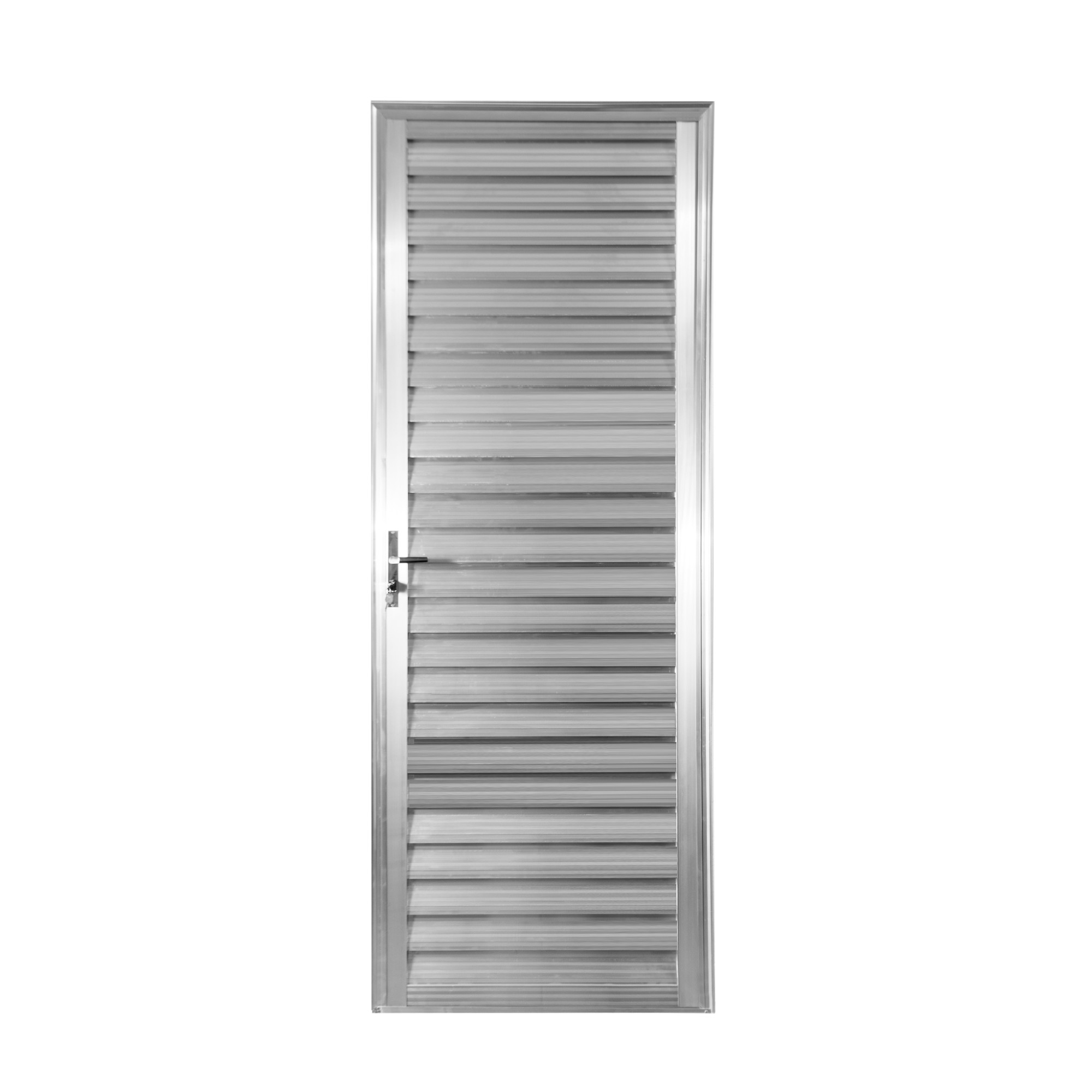 Porta de Abrir de Aluminio 210x80 cm Veneziana Lado Direito - Aluvid