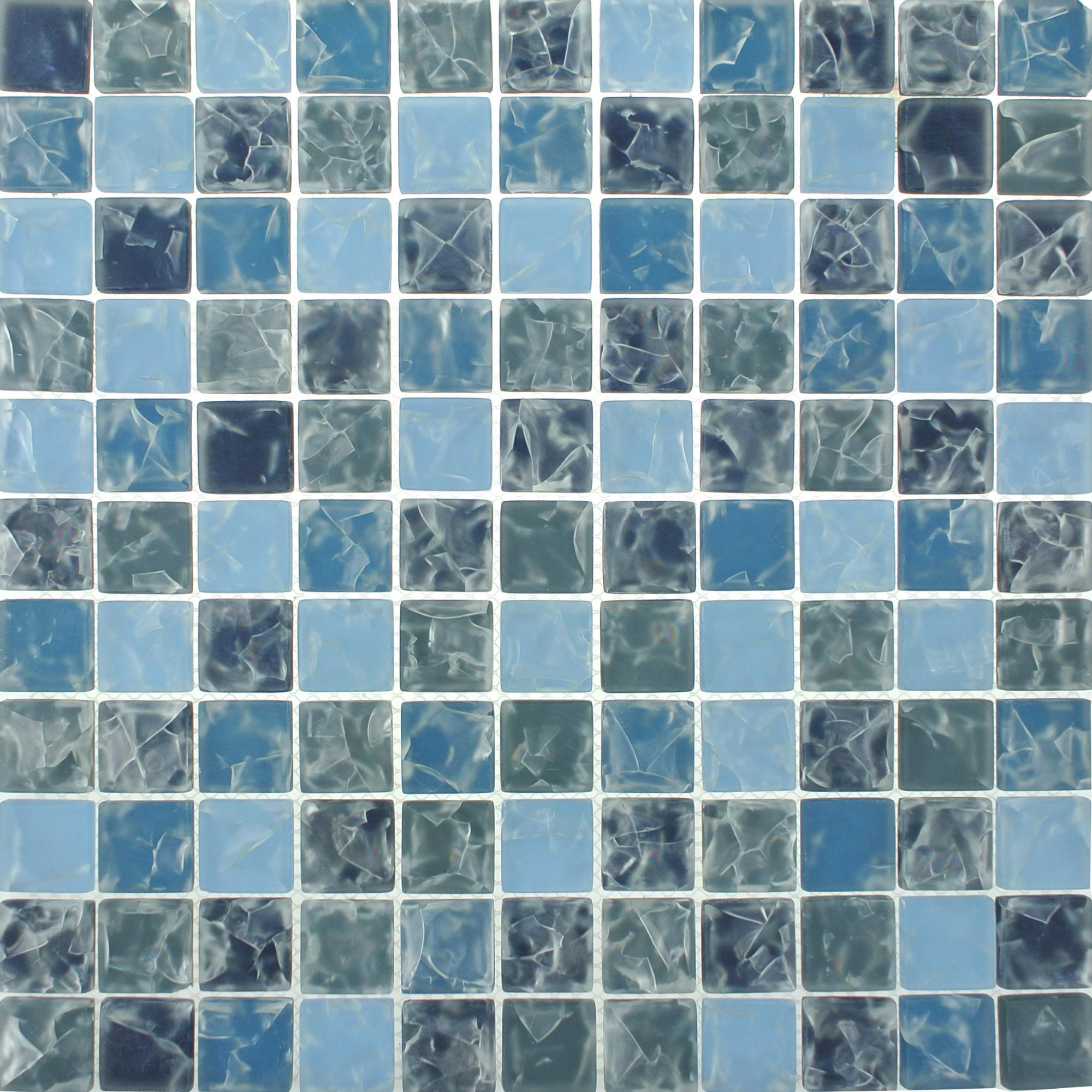 Pastilha de Vidro Craquelada 25x25cm Azul Claro - MC003B - Jolie